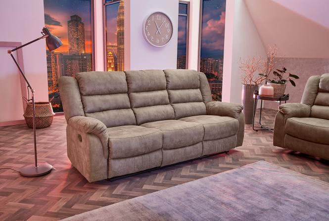 Fernsehsessel XXL 3er Sitzer CLEVELAND 3 inkl Liegefunktion von Pro Com Vintage Grau/Braun
