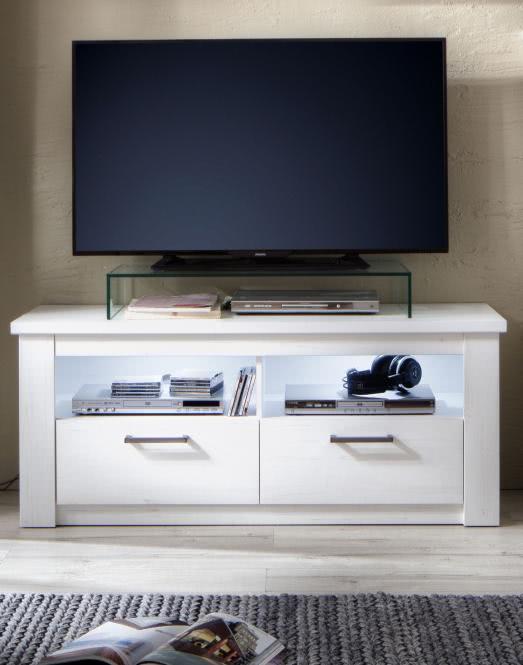 Landhausstil TV-Lowboard GEORGIA von Trendteam Pinie Weiss