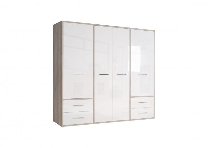 Kleiderschrank 4-trg Jandia von Forte Sandeiche / Weiss Hgl