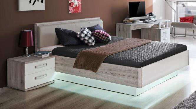 140x200 Bett Rondino Sandeiche/Weiß