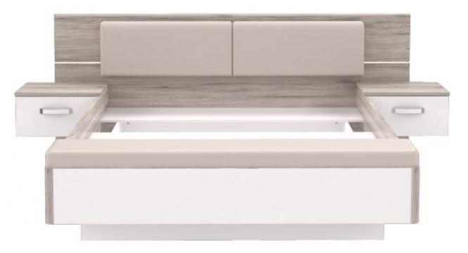 160x200 Bettanlage inkl. Glasbodenbeleuchtung und Fußbank, Sandeiche/Weiß
