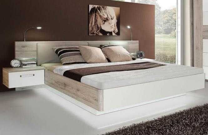 180x200 Bettanlage inkl. Glasbodenbeleuchtung Sandeiche/Weiß