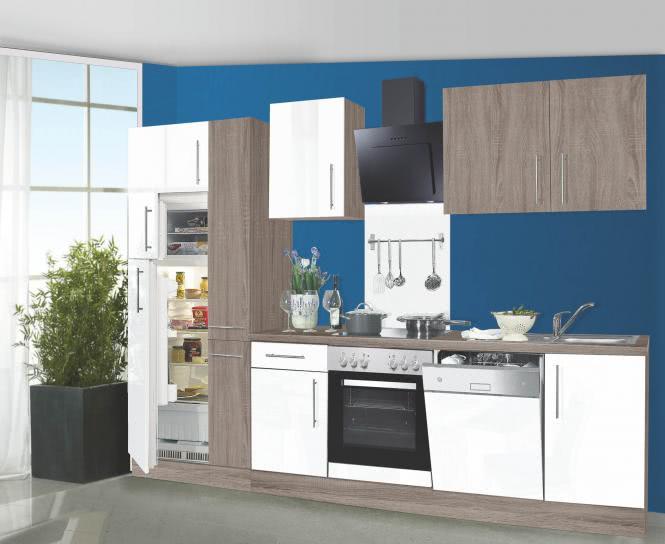 Küchenblock 310 cm breit JULIA inkl E-Geräte von Menke Weiss HG / Eiche Trüffel