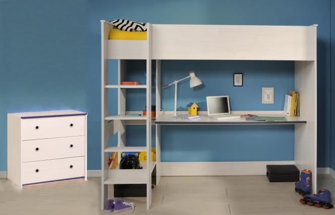 Kinderzimmer-Set 2-tlg inkl 90x200 Hochbett Smoozy 29a von Parisot Kiefer Weiss