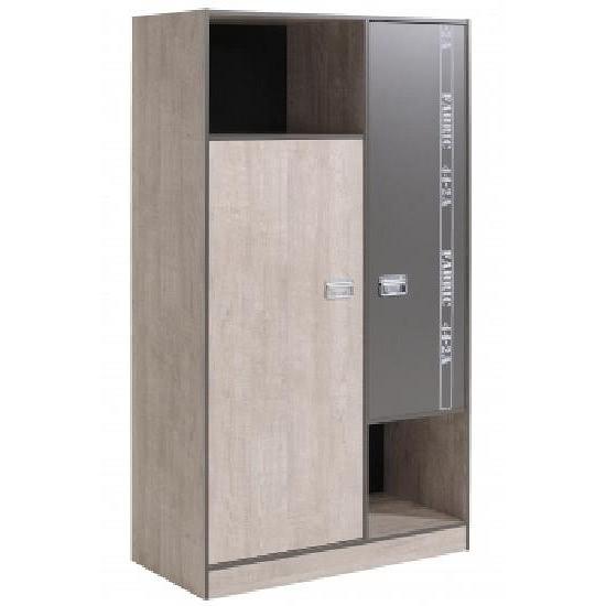 Kleiderschrank 2-trg FABRIC 6 von Parisot Esche Grau Loft