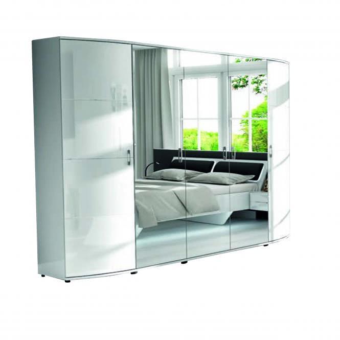 Kleiderschrank 5-türig Atena A4AT0005 von Wohnorama Hochglanz weiß