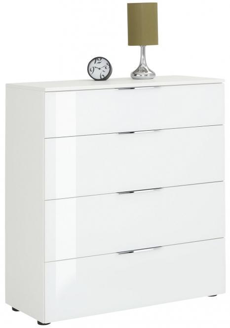 Schubkastenkommode 7808 TREND von MAJA Weiß matt / Weißglas