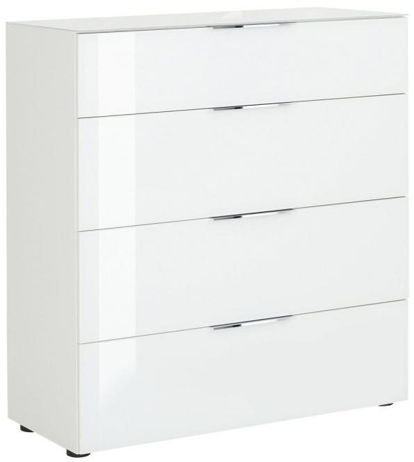 Schubkastenkommode 7810 TREND von MAJA Weiß matt / Weißglas