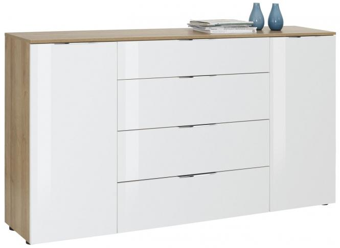Sideboard 7816 TREND von MAJA Riviera Eiche / Weißglas