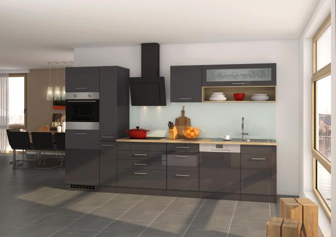Küchenblock 330 inkl E-Geräte von PKM, Schräghaube autark (5 tlg) MAILAND von Held Möbel Graphit / Eiche Sonoma