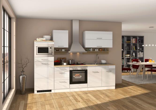 Küchenblock 270 inkl E-Geräte von PKM (4 tlg) MAILAND von Held Möbel Weiss / Eiche Sonoma