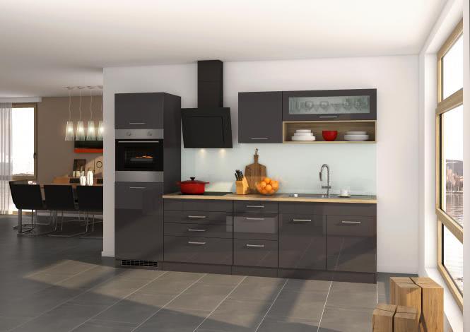 Küchenblock 290 inkl E-Geräte, Kühlschrank von PKM autark (4 tlg) MAILAND von Held Möbel Graphit / Eiche Sonoma