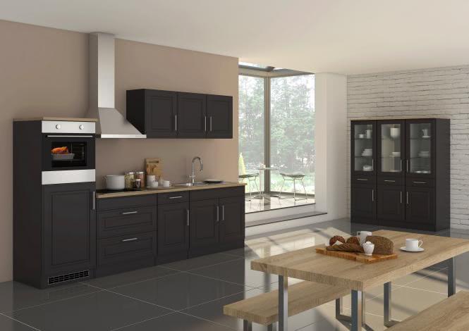 Küchenblock inkl E-Geräte 290 cm breit ROM 290 von Held Möbel Grafit / Matt Grau