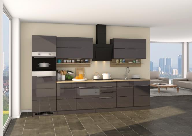 Küchenblock inkl E-Geräte 320 cm breit NEAPEL 320 von Held Möbel Grafit / Hochglanz Grau