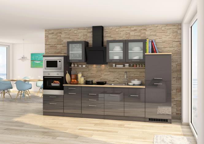 Küchenblock 330 inkl E-Geräte von PKM, Mikrowelle autark (5 tlg) MAILAND von Held Möbel Graphit / Eiche Sonoma