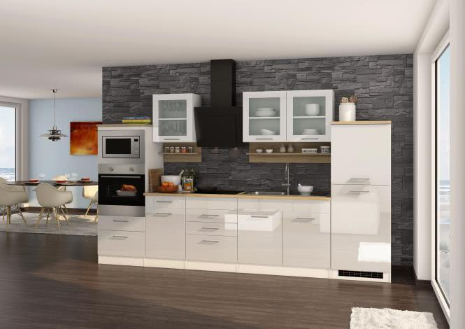 Küchenblock 330 inkl E-Geräte von PKM, Mikrowelle autark (5 tlg) MAILAND von Held Möbel Weiss / Eiche Sonoma