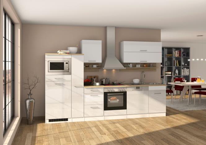 Küchenblock 310 inkl E-Geräte von PKM (5 tlg) MAILAND von Held Möbel Weiss / Eiche Sonoma