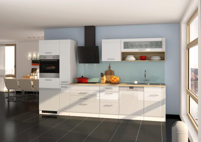 Küchenblock 330 inkl E-Geräte von PKM, Schräghaube autark (5 tlg) MAILAND von Held Möbel Weiss / Eiche Sonoma