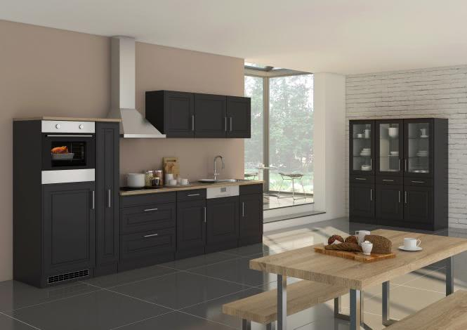Küchenblock inkl E-Geräte und Apothekerschrank 330 cm breit ROM 330GA von Held Möbel Grafit / Matt Grau