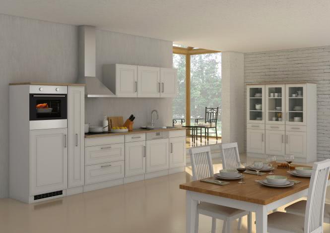 Küchenblock inkl E-Geräte und Apothekerschrank 330 cm breit ROM 330GA von Held Möbel Weiss / Matt Weiss