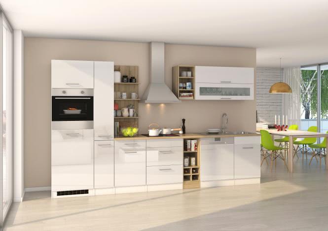 Küchenblock 340 inkl E-Geräte von PKM autark (5 tlg) MAILAND von Held Möbel Weiss / Eiche Sonoma