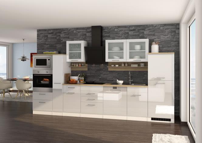 Küchenblock 370 inkl E-Geräte von PKM autark (6 tlg) MAILAND von Held Möbel Weiss / Eiche Sonoma