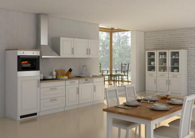 Küchenblock inkl E-Geräte und Geschirrspüler teilintegriert 300 cm breit ROM 300GS von Held Möbel Weiss / Matt Weiss