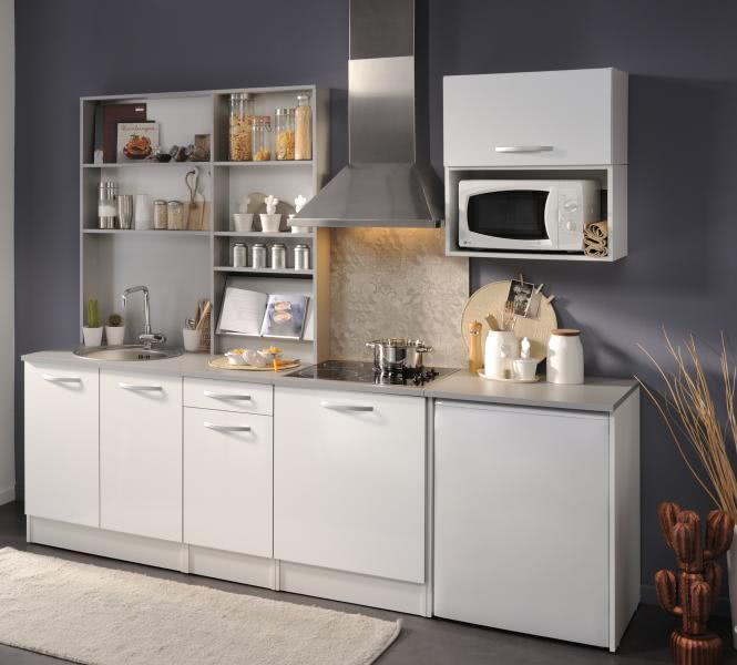 Küchenblock ohne E-Geräte u Spüle Spoon Natura 1 von Parisot Hochglanz Weiss
