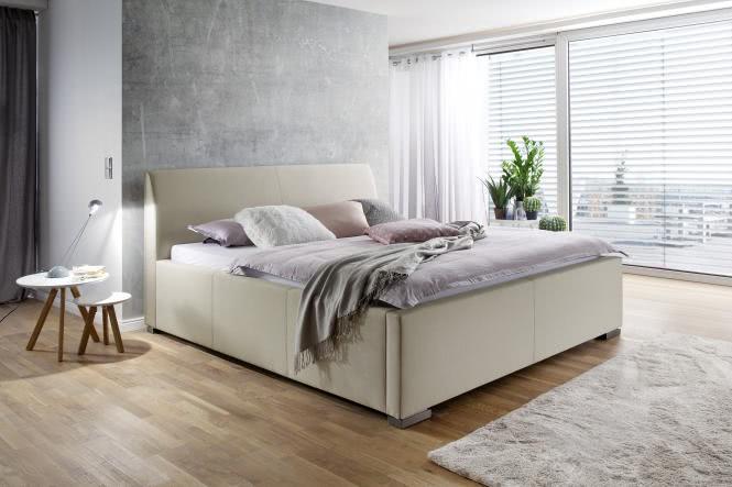 140x200 Polsterbett LA FINCA von Meise Möbel Kopfteil glatt CHARON beige