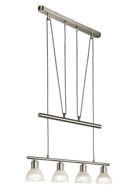 LED Jojo-Pendel 4-flg DAYTONA von Nino Nickel matt / Alabaster Weiss