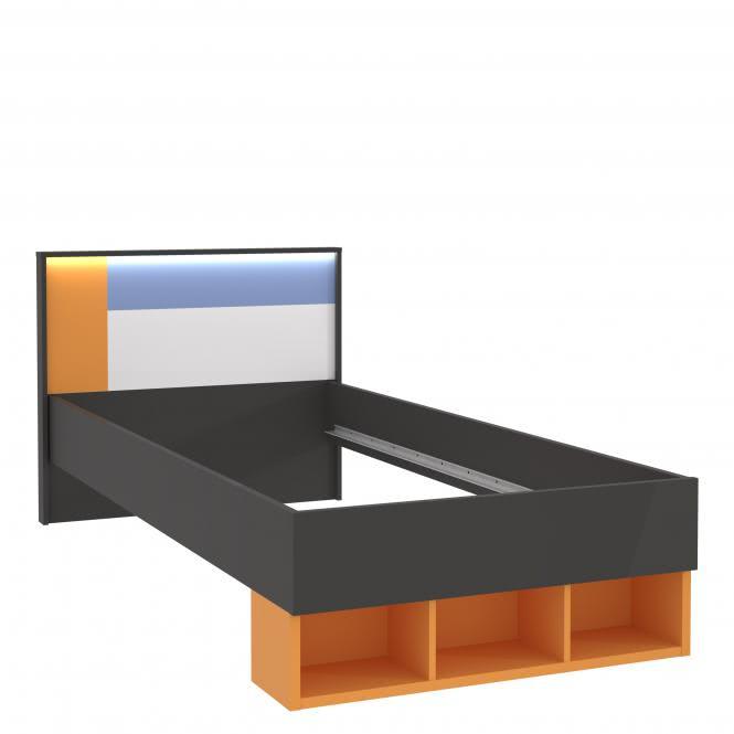 90x200 Jugendbett Colors von Forte Wolfram Grau mit Orange Blau / Weiss