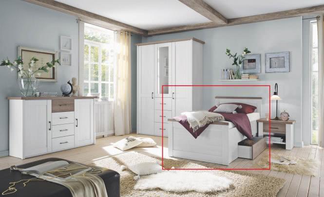 100x200 Komfortbett inkl Bettschubkasten LUCA von Pol-Power Pinie Weiß / Trüffel