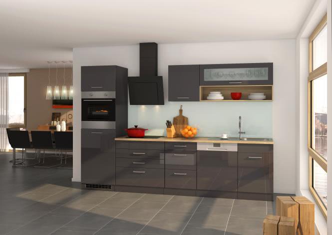 Küchenblock 300 inkl E-Geräte von PKM, Schräghaube autark (5 tlg) MAILAND von Held Möbel Graphit / Eiche Sonoma