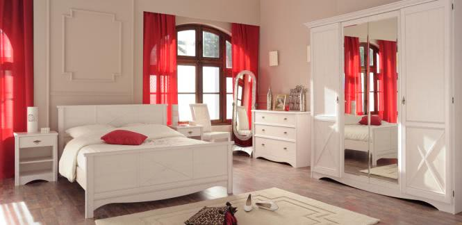 Schlafzimmer-Set 5-tlg inkl 160x200 Bett u Kleiderschrank Marion 2 von Parisot Kiefer Weiss