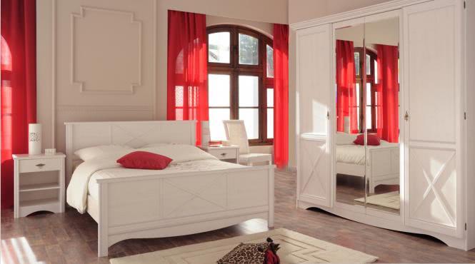 Schlafzimmer-Set 4-tlg inkl 160x200 Bett u Kleiderschrank Marion 4 von Parisot Kiefer Weiss