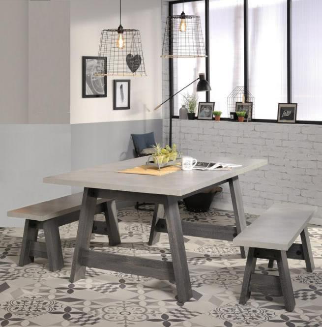 Esstisch inkl Sitzbänke 2er Set Maxwell 6 von Parisot Eiche grau