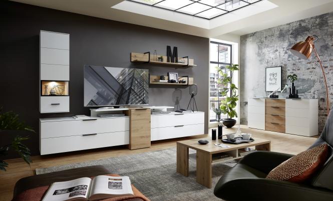 Wohnwand 6-tlg ca 320 cm breit inkl LED-Beleuchtung Mediana von Innostyle Weiss supermatt / Artisan Eiche