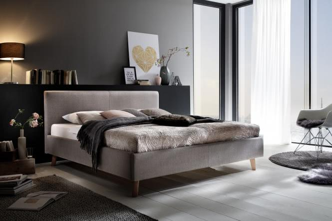 180x200 Polsterbett PAULA von Meise Möbel Kopfteil glatt PORTO taupe / Fuß Eiche massiv