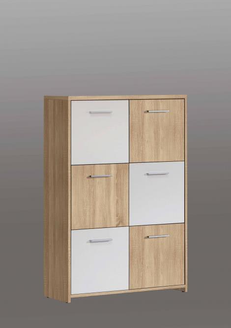 Highboard Quadro 6-türig Sonoma Eiche/Weiß