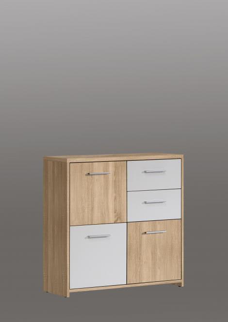 Kommode Quadro 3-türig mit 2 SK Sonoma Eiche/Weiß
