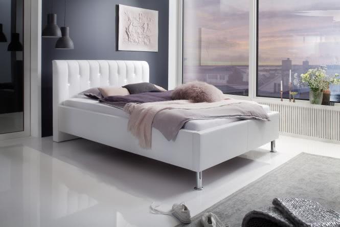 180x200 Polsterbett inkl Swarovski®-Kristallen RAPIDO von Meise Möbel Kunstleder schwarz