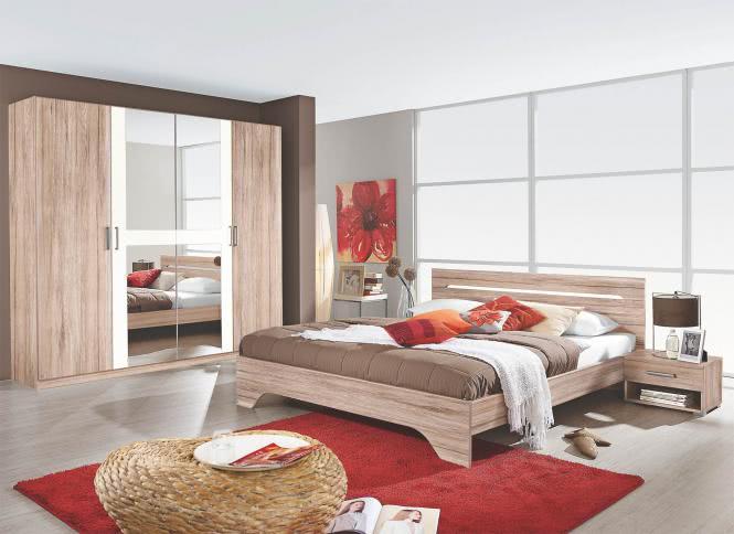 Schlafzimmer Rubi 4-tlg. von Rauch Packs Eiche San Remo / Weiss
