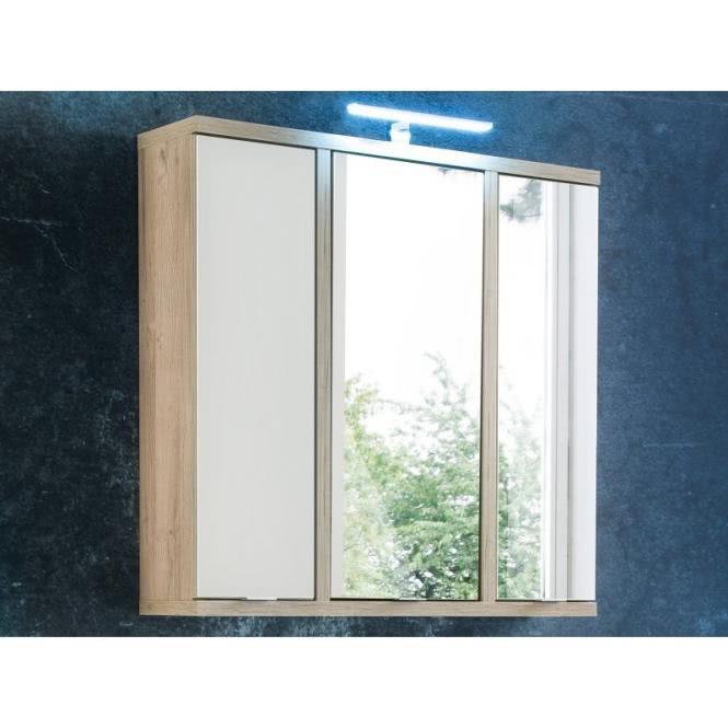 Spiegelschrank L/R SAFIRA von Forte Weiss / Bianco Eiche