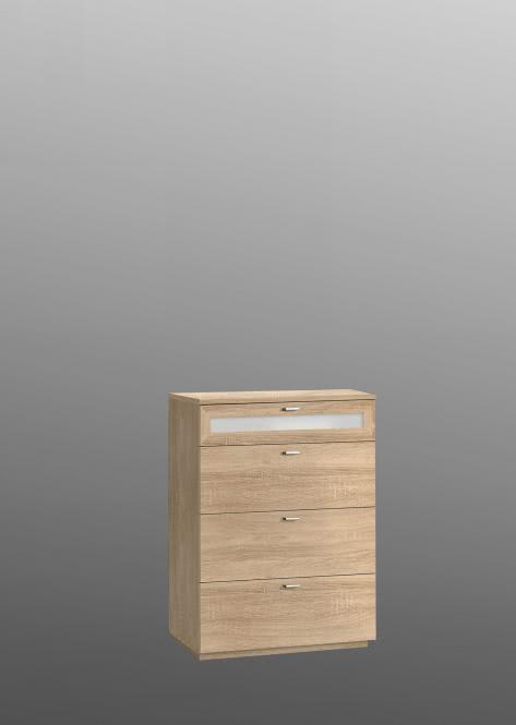 Kommode Nexus breit mit 4 SK Sonoma Eiche/Weißglas