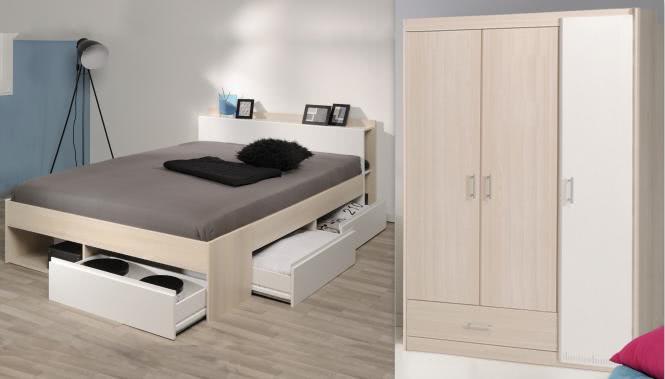 Schlafzimmer-Set 2-tlg inkl 140x200 Bett Bettkasten u Kleiderschrank 3-trg  Most 71 von Parisot Akazie / Weiss