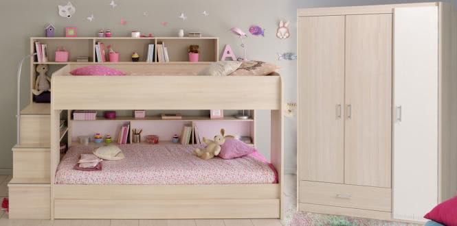 Schlafzimmer Set 3-tlg. inkl 90x200 Etagenbett, Bettschubkasten u Kleiderschrank 3-trg Bibop 43 von Parisot Akazie / Weiß