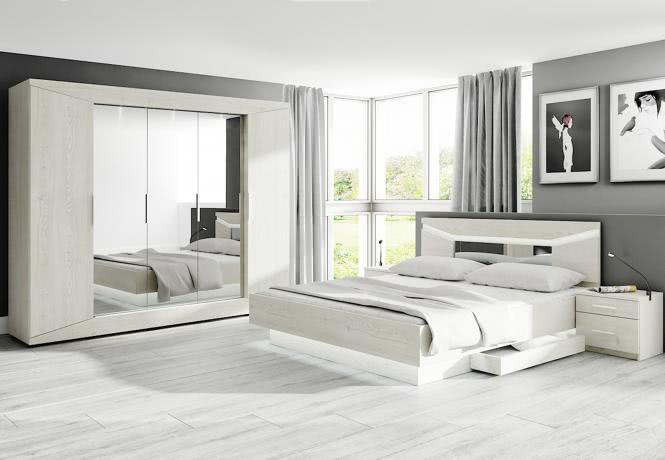 Schlafzimmer-Set 4-teilig Rubin II VA A9RBUUVA von Wohnorama Anderson Kiefer weiß