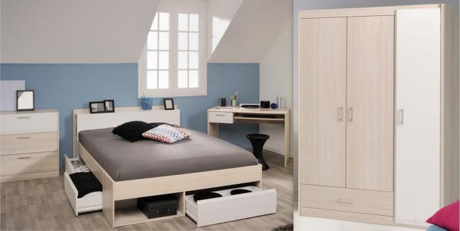 Schlafzimmer-Set 4-tlg inkl 160x200 Etagenbett u Kleiderschrank 3-trg Most 76 von Parisot Akazie / Weiss