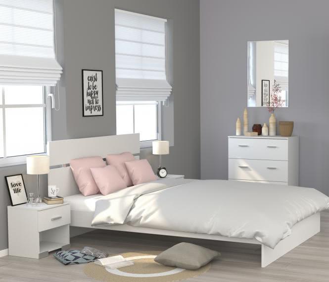 Schlafzimmerset 4-tlg inkl 140x200 Bett Galaxy 125 von Parisot Weiss