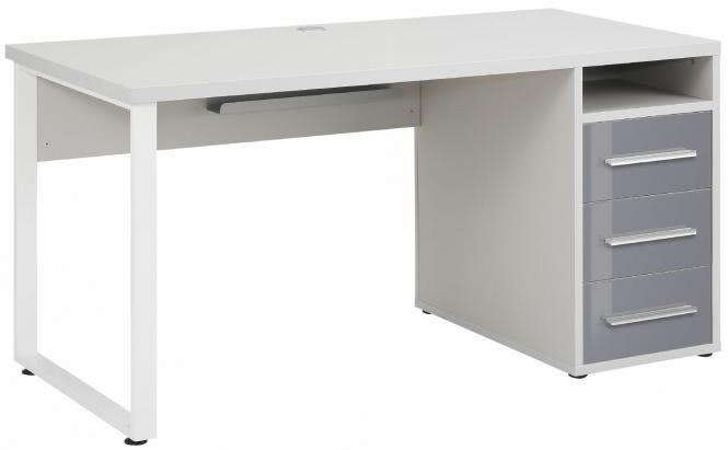 Schreibtisch inkl 4 Schubladen OFFICE von MAJA Platingrau / Grauglas